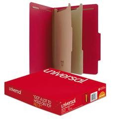 Universal Pressboard Classification Folders, Letter, Six-Section, Ruby Red, 10/Box