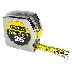 "Stanley Powerlock II Power Return Rule, 1"" x 25ft, Chrome/Yellow"