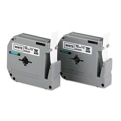 "M Series Tape Cartridges for P-Touch Labelers, 1/2""w, Black on White, 2/Pack"