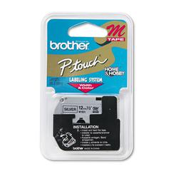 """P-Touch M Series Tape Cartridge for P-Touch Labelers, 1/2""""w, Black on Silver"""