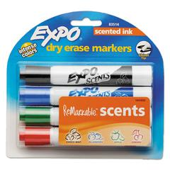 Scents Dry Erase Markers, Chisel Tip, Assorted Colors, 4/Set