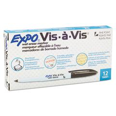 EXPO Vis-à-Vis Wet-Erase Marker, Fine Point, Black, Dozen