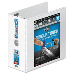 """Ultra Duty D-Ring View Binder w/Extra-Durable Hinge, 5"""" Cap, White"""