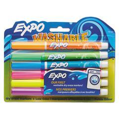 Washable Dry Erase Marker, Fine Point, Assorted, 6/Set