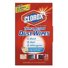 Clorox Triple Action Dust Wipes, White, 8 1/2 x 10, 26/Box