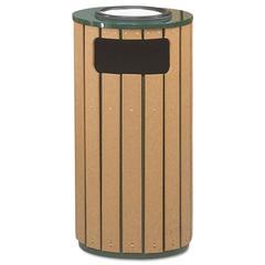 Regent 50 Ash/Trash Receptacle, Green Enamel/Brown Cedar Plastic, 12 gal