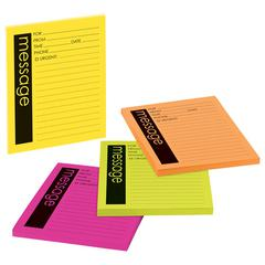 Post-it Self-Stick Message Pad, 3 7/8 x 4 7/8, Rio de Janeiro Colors, 50-Sheet, 4/Pack