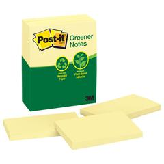 Post-it Greener Original Recycled Note Pads, 3 x 5, Canary Yellow, 100-Sheet, 12/Pack