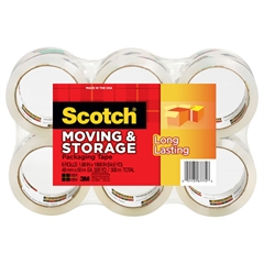 "Scotch Moving & Storage Tape, 1.88"" x 54.6yds, 3"" Core, Clear, 6 Rolls/Pack"