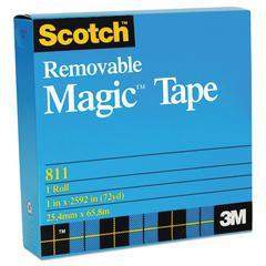 """Removable Tape, 3/4"""" x 1296"""", 1"""" Core, Transparent"""