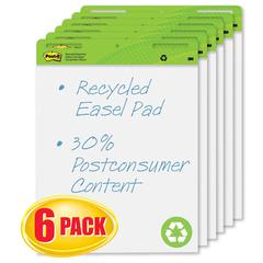 Post-it Self Stick Easel Pads, 25 x 30, White, Recycled, 6 30 Sheet Pads/Carton