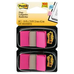 Standard Page Flags in Dispenser, Bright Pink, 100 Flags/Dispenser