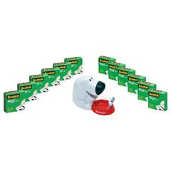 "Scotch Magic Tape Designer Dispenser Value Pack, C31 Dog, 3/4"" x 1000"", 12 Rolls/Pack"