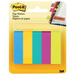 Post-it Page Flag Markers, Assorted Colors,100 Flags/Pad, 5 Pads/Pack