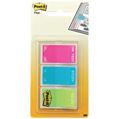 "Post-it Study Memo Page Flags with Message, Assorted Bright Colors, 1"", 60/Set"