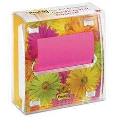 Post-it Pop-up Note Dispenser with Designer Daisy Insert, One 45-Sheet Pad, Black/Clear