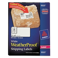 WeatherProof Shipping Labels w/TrueBlock, Laser, White, 2 x 4, 500/Pack