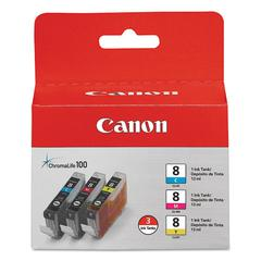 Canon 0621B016 (CLI-8) ChromaLife100+ Ink, Cyan/Magenta/Yellow, 3/PK