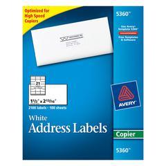 Copier Address Labels, 1 1/2 x 2 13/16, White, 2100/Box