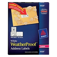 WeatherProof Addess Labels w/TrueBlock, Laser, White, 1 x 2 5/8, 1500/Pack