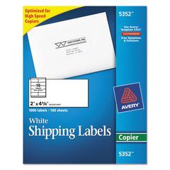 Copier Shipping Labels, 2 x 4 1/4, White, 1000/Box