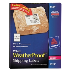 WeatherProof Shipping Labels w/TrueBlock, Laser, White, 3 1/3 x 4, 300/Pack