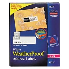 WeatherProof Addess Labels w/TrueBlock, Laser, White, 1 1/3 x 4, 700/Pack