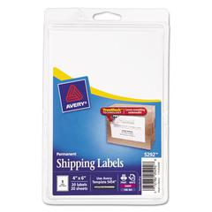 Avery Full-Sheet Labels with TrueBlock Technology, Inkjet/Laser, 4 x 6, White, 20/Pack