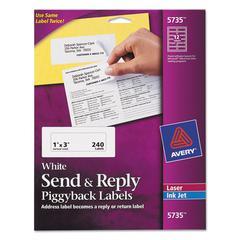 Send & Reply Piggyback Inkjet/Laser Printer Labels, 1 5/8 x 4, White, 240/Pack
