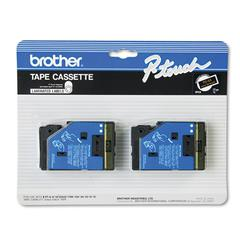"""Brother P-Touch TC Tape Cartridges for P-Touch Labelers, 1/2""""w, Gold on Black, 2/Pack"""