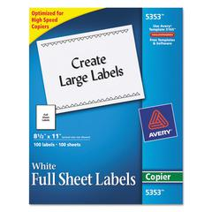 Copier Full-Sheet Labels, 8 1/2 x 11, White, 100/Box