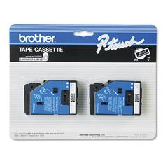 "Brother P-Touch TC Tape Cartridges for P-Touch Labelers, 3/8""w, White on Black, 2/Pack"