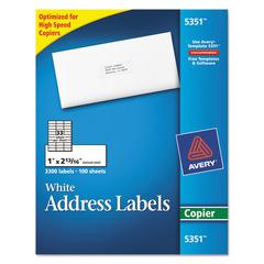 Avery Copier Address Labels, 1 x 2 13/16, White, 3300/Box