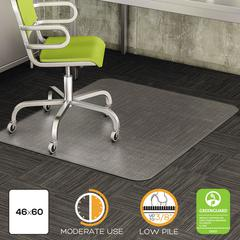 deflecto DuraMat Moderate Use Chair Mat for Low Pile Carpet, Beveled, 46 x 60, Clear