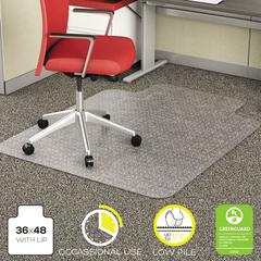 deflecto EconoMat Occasional Use Chair Mat for Low Pile, 36 x 48 w/Lip, Clear