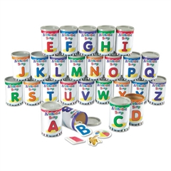 Alphabet Soup Sorters, 26 Cardboard cans w/Lids, 130 Photo Cards, 52 Letters