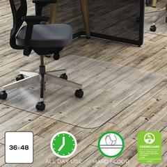 deflecto Clear Polycarbonate All Day Use Chair Mat for Hard Floor, 36 x 48