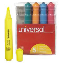 Universal Desk Highlighter, Chisel Tip, Fluorescent Colors, 5/Set