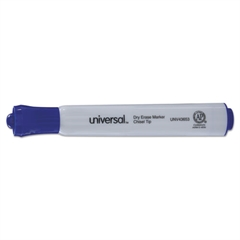 Universal Dry Erase Marker, Chisel Tip, Blue, Dozen