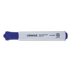 Universal Dry Erase Marker, Bullet Tip, Blue, Dozen