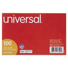 Universal Unruled Index Cards, 4 x 6, White, 100/Pack