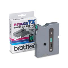 "Brother P-Touch TX Tape Cartridge for PT-8000, PT-PC, PT-30/35, 1/2""w, Black on Green"