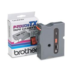 "Brother P-Touch TX Tape Cartridge for PT-8000, PT-PC, PT-30/35, 1""w, Black on Fluorescent Orange"