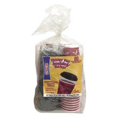 Trophy Foam Cups & Lids Combo Pack, Foam, Maroon, 12oz, 50-Cups & Lids/Pack