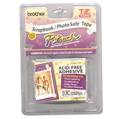 TZ Photo-Safe Tape Cartridge for P-Touch Labelers, 1/2w, Black on Clear