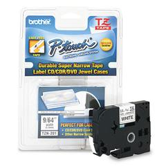 "TZ Super-Narrow Non-Laminated Tape for P-Touch Labeler, 1/8""w, Black on White"
