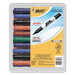 BIC Great Erase Grip Chisel Tip Dry Erase Marker, Assorted, 30/Pack