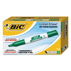 Great Erase Grip Chisel Tip Dry Erase Markers, Low-Odor, Green, Dozen