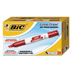 Great Erase Grip Chisel Tip Dry Erase Markers, Low-Odor, Red, Dozen