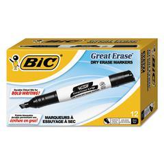 Great Erase Grip Chisel Tip Dry Erase Markers, Low-Odor, Black, Dozen
